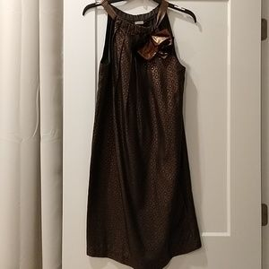 Brown and copper metallic a line shift dress
